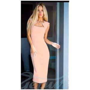 Stunning Light Beige / Pink Color Midi Dress